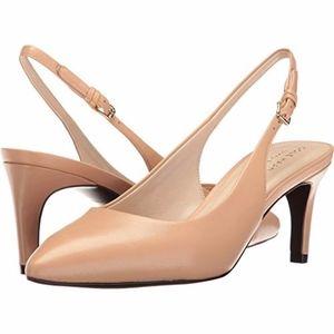 NEW Cole Haan Medora Slingback Nude Leather Heels
